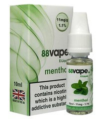 88 Vape E-Liquid Menthol 11mg 1.1% 10ml 20 Pack