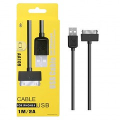 Usb Cable for Iphone 4 1m/2a Cable Aa109 (black)