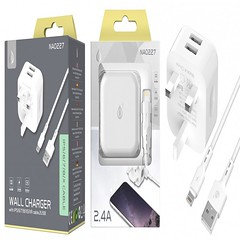 NA0227 UK Home Charger for iPhone, Dual USB, 5V 2.1A, White