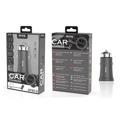 AT613 Car Charger with out cable Metal Faro, 3.1A with 2 USB