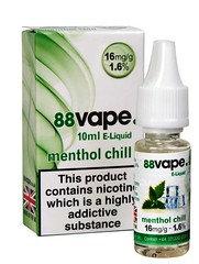 88 Vape E-Liquid Methol Chill 16mg 1.6% 10ml
