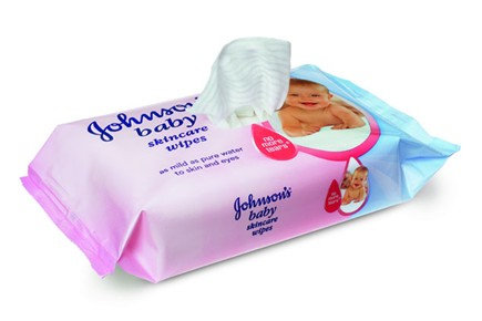 Box of Johnson's Baby Skin Care Wipes