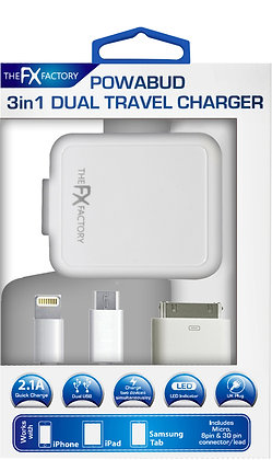 FX Factory 3 in 1 Dual Travel Charger