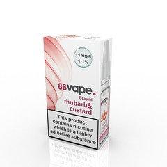 88 Vape E-Liquid Rhubarb & Custard 11mg 1.1% 10ml 20 Packl