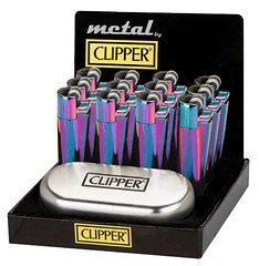 Clipper Metal Lighters in Icy Colour 12 Pack