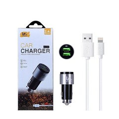 LT PLUS CR626 Dual USB Car Charger with iPhone Cable 2.4A