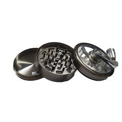 3 Part Metal Herb Grinder Sifter with Rotary Crank Handle