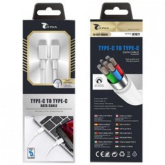 LT PLUS B7077 TYPE-C TO TYPE-C CABLE, 5A 1M, WHITE