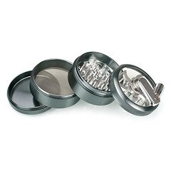 4 Part Metal Herb Grinder Sifter with Rotary Crank Handle