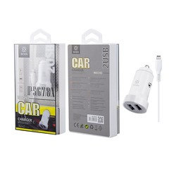 WOOX WA2393 Car Charger for Smartphone with iPhone Cable 2USB