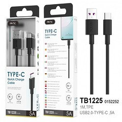 TB1225 Lightspeed Data Cable for Type C, HW Rapid Charge, 5A, 1M