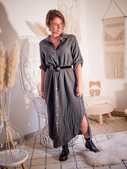 Robe longue chemise grise foncé