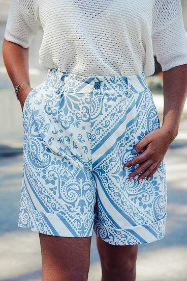 Short à motif bandanas bleu