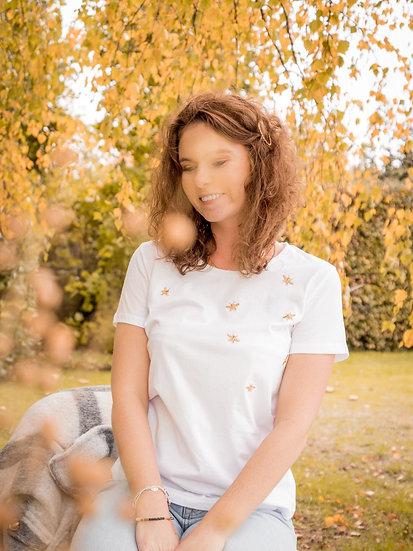T shirt blanc brodé