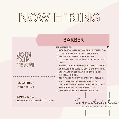 We are Hiring Licensed Barbers!