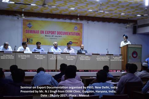 N J Singh - EXIM Experts invited in FIEO open seminar