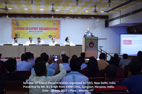 N J Singh deliverying EXIM training to exporters/importers