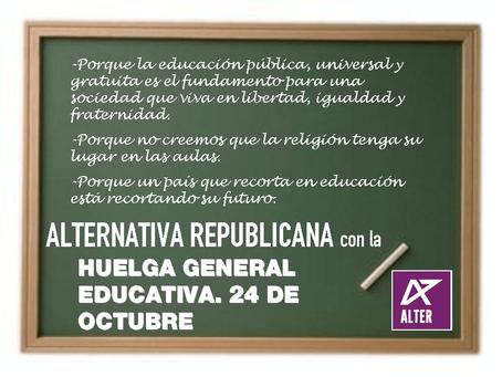 Comunicado de Alternativa Republicana sobre la Huelga General de Educación del 24-O