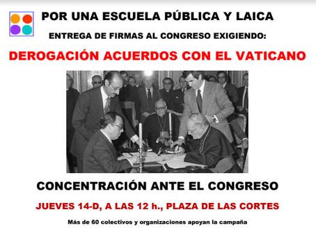 Concentración mañana frente al Congreso para reclamar la derogación de los Acuerdos de la Santa Sede