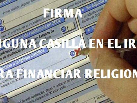 FIRMA: No a la asignación tributaria en el IRPF para las confesiones religiosas