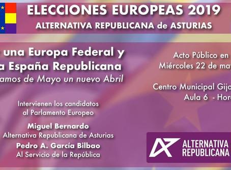 Gijón: Presentación de la candidatura de Alternativa Republicana en las Elecciones Europeas.