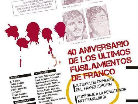 Acto: 40 Aniversario en recuerdo y homenaje a los 5 últimos fusilados franquismo