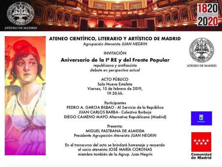 Vídeo del acto en el Ateneo de Madrid: Aniversario de la I República y del triunfo del Frente Popula
