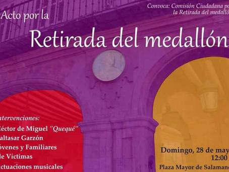 Salamanca: Acto cívico con motivo de la retirada del medallón del dictador