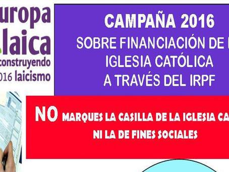 NO a las casillas del IRPF: No marques la casilla de la iglesia católica, ni la de fines sociales