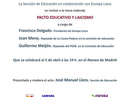 Mesa redonda «Pacto educativo y laicismo»