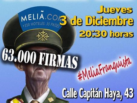 Concentración contra el homenaje a Franco en el Hotel Meliá-Castilla de Madrid