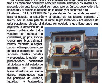 Segorbe: Presentación del Ateneo Republicano «Julio Cervera»