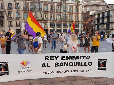 Málaga. Alternativa Republicana participa en la concentración ¡Rey emérito al banquillo!