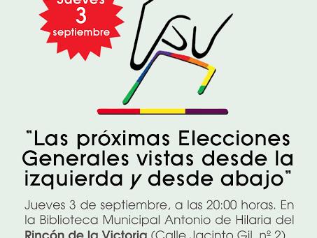 Málaga: Mesa redonda «Las próximas Elecciones Generales vistas desde la izquierda y desde abajo»
