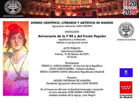 Acto en el Ateneo de Madrid: Aniversario de la I República y del triunfo del Frente Popular.
