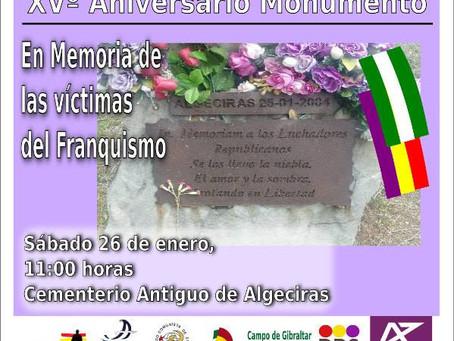 Algeciras: XV aniversario del monumento en memoria de las víctimas del franquismo.