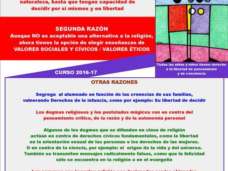 "Campaña ""No apuntes a tus hijos e hijas a religión: Respeta su libertad de conciencia"""