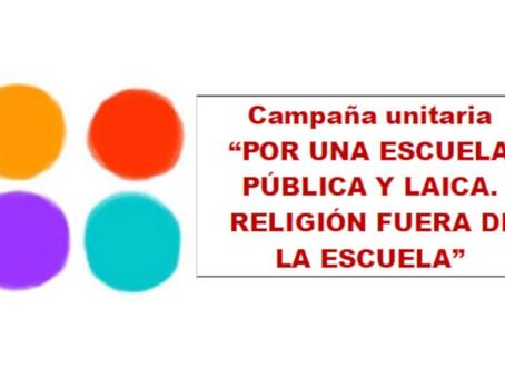 Nota de prensa de la campaña «Por una Escuela Pública y Laica: Religión fuera de la Escuela».