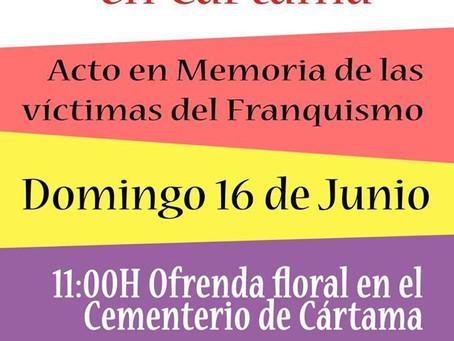 Cártama (Málaga). VII Ofrenda Floral en Cártama. Acto en memoria de las víctimas del franquismo.