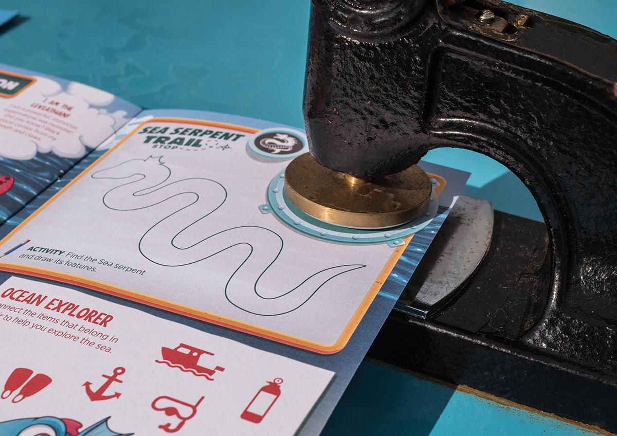 Activity book embossed stamp