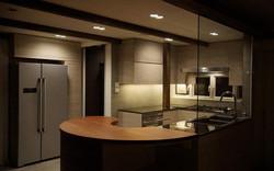 0250- curved wooden bar table-open kitchen-home idea-breeze design studio 柔室內設計裝