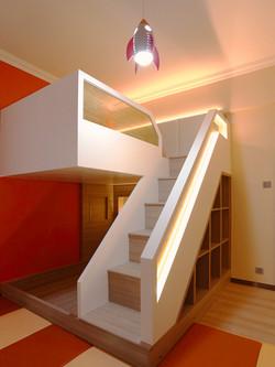 0560-colorful double desk bed-kid room-home idea-breeze design studio 柔室內設計裝修.JP