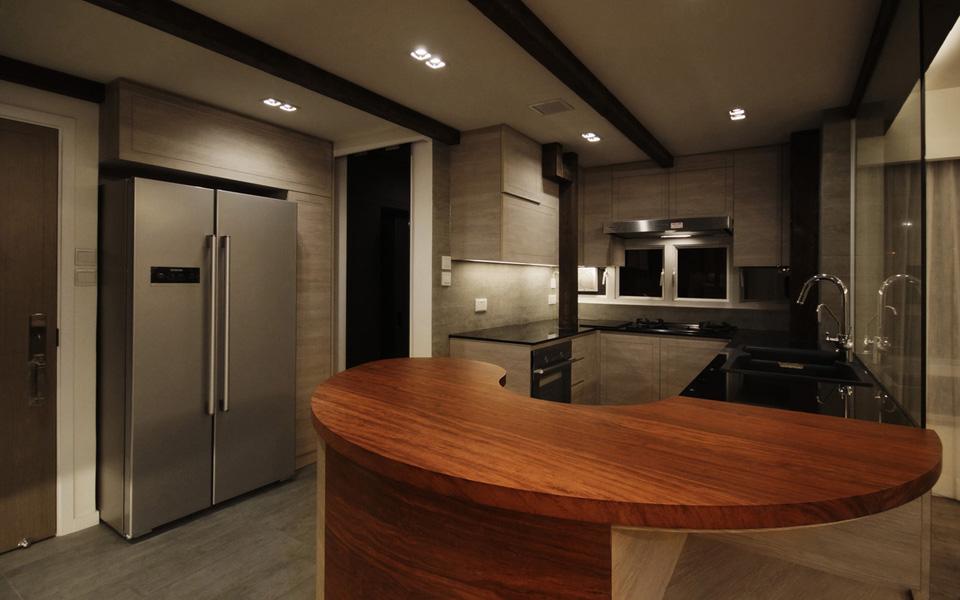 0270-curved wooden bar table-open kitchen-home idea-breeze design studio 柔室內設計裝修