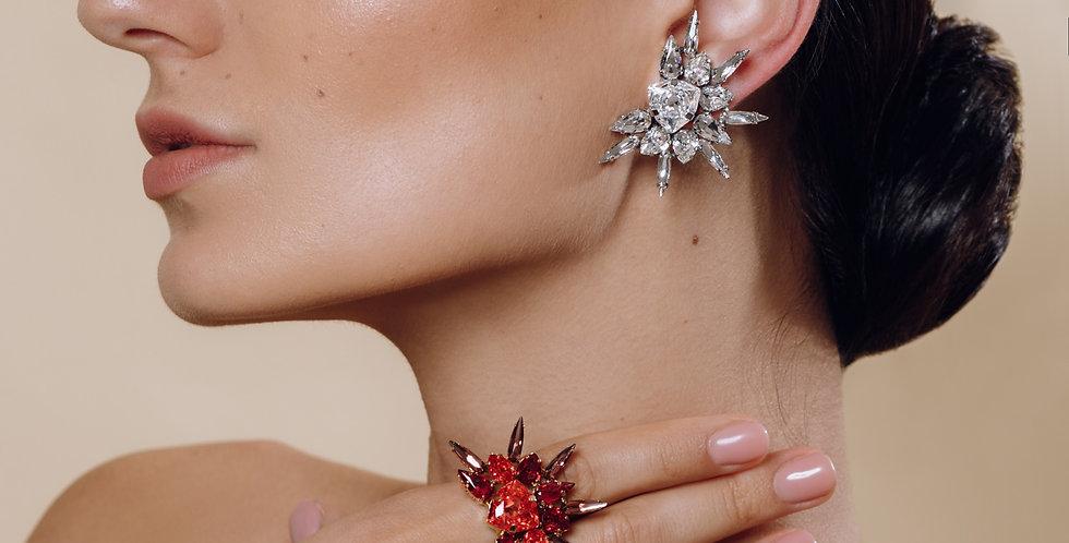 Crystal Star Clip Earrings