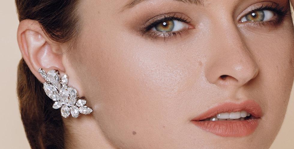 Crystal Leaf Clip Earrings