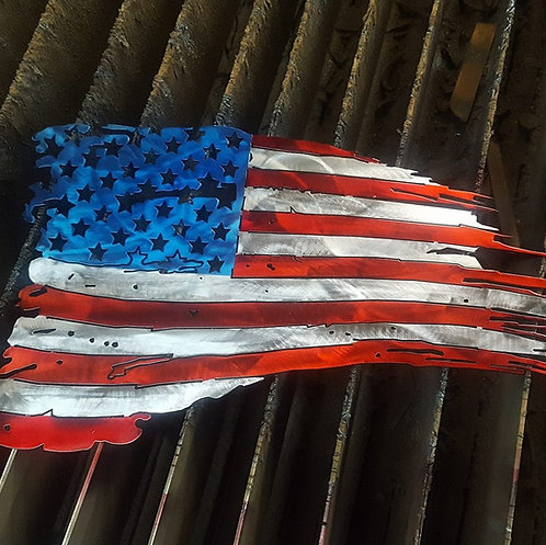 Custom Painted Tattered Flag
