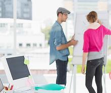 Cheerful marketing people brainstorming_