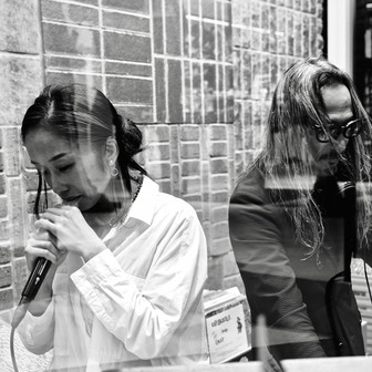 DJmacromance with Chihiro Sings, Photographed by Yusuke Sato. at 5351 POUR LES HOMMES Flagship shop reopen reception.