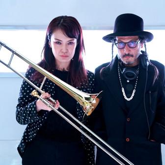 DJmacromance with Kayoko Yuasa on JICOO THE FLOATING BAR. Photographed by Yusuke Sato