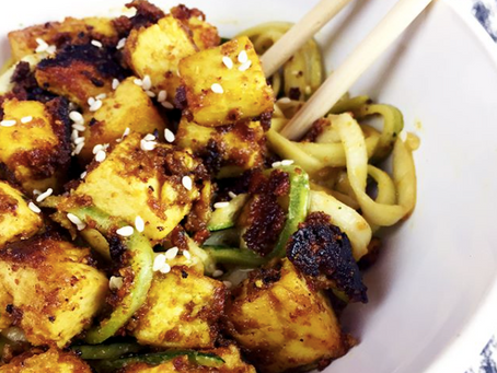 Spicy Turmeric and Peanut Zoodles with Tofu